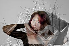 Abstract portrait of redhead girl with blue eyes royalty free stock photos