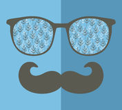 Abstract portrait of retro man in glasses. Vector face illustration Stock Photography