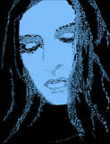 Abstract Portrait of Sad Woman. An abstract portrait of a sad or depressed woman, created in the pointillist style royalty free illustration