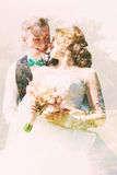 Abstract portrait of smiling bride and groom Stock Images