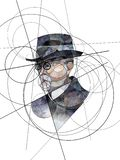 Abstract portrait of Thomas G. Masaryk, first President of Czechoslovakia stock photo