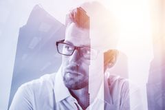 Abstract portrait of young businessman royalty free stock photos