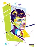 Abstract portrait young man. Style wpap. Vector illustration. Royalty Free Stock Image