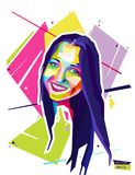 Abstract portrait young woman. Style wpap. Vector illustration. Royalty Free Stock Images
