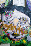 Abstract Portraits. VALPARAISO - NOVEMBER 07: Street art in Concepcion and Alegre districts of the protected UNESCO World Heritage Site of Valparaiso on November stock photo