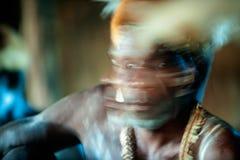 Abstract Portret van de strijder Asmat Stock Afbeeldingen