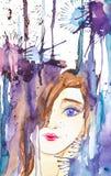 Abstract portret van een mooi jong meisje op de achtergrond van dalingen en vlekken Waterverfillustratie op wit wordt ge?soleerd  royalty-vrije illustratie