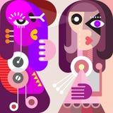 Abstract Portret van Twee Jonge Vrouwen Stock Afbeelding