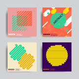 Abstract Posers Art Graphic Backgrounds. Art Geometric Shape Logo Design in Retro Swiss Style. Colorful Abstract Posters Set Royalty Free Stock Photo