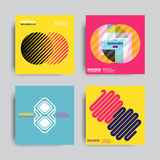 Abstract Posers Art Graphic Backgrounds. Art Geometric Shape Logo Design in Retro Swiss Style. Colorful Abstract Posters Set Stock Images