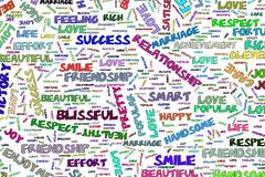 Abstract positive emotion word cloud illustrations background. Design, words, concept & decoration. Abstract positive emotion word cloud illustrations stock illustration
