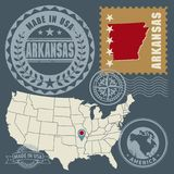 Abstract post stamps set with name and map of Arkansas, USA. Vector illustration royalty free illustration