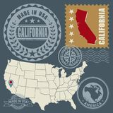Abstract post stamps set California, USA. Abstract post stamps set with name and map of California, USA, vector illustration royalty free illustration