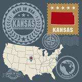 Abstract post stamps set with name and map of Kansas, USA. Vector illustration stock illustration