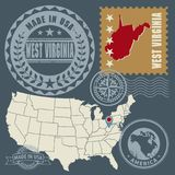 Abstract post stamps set with name and map of West Virginia, USA. Vector illustration stock illustration