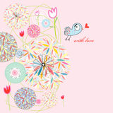 Abstract postcard love bird. Bright abstractions card with a bird in love on a pink background Stock Photography