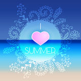 Abstract postcard for summer season with hand drown frame and te Stock Images
