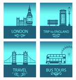 Abstract Postcards for Trip Of England with Silhouette Background of Abstract London Skyline Stock Photo