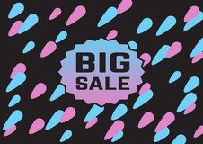 Abstract poster with big sale text. Blue and pink light dots on background Stock Photography