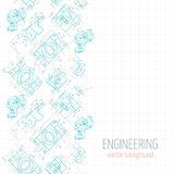 Abstract poster, cover, banner, background of blue engineering drawings of parts. Vector Royalty Free Stock Photos