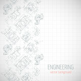 Abstract poster, cover, banner, background with technical drawing of parts. Notebook sheet. Vector Stock Images