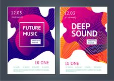 Deep sound. Abstract poster for electronic music festival. Guilloche line and dynamic fluid background. Abstract poster for electronic music festival. Deep Royalty Free Stock Image