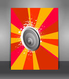 Abstract poster with rays and speakers Royalty Free Stock Photos