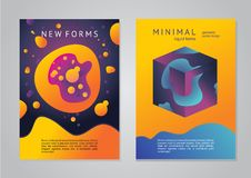 Abstract posters with 3d elements. Geometric objects with vibrant color. Trendy design. Abstract posters with 3d objects. Geometric elements with vibrant color Royalty Free Stock Photos