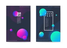 Abstract Posters Dark Space Background. 3d Shapes Brochure Template.. Banner Identity Card Design. Vector illustration Stock Images