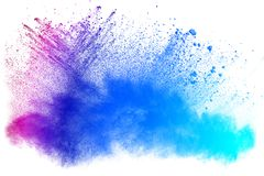 Color powder splattered. Abstract powder splattered on white background,Freeze motion of color powder exploding Stock Photos