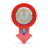 Abstract power button with arrow. On white background Stock Images