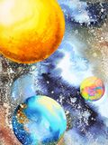 Abstract power universe watercolor painting illustration design. Hand drawn sun moon world Stock Image