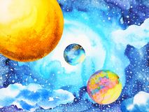 Abstract power universe watercolor painting illustration design. Hand drawn world sun moon Stock Photography