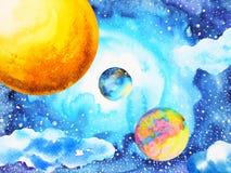 Abstract power universe watercolor painting illustration design. Hand drawn world sun moon vector illustration