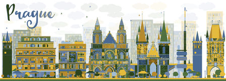 Abstract Prague skyline with color landmarks Royalty Free Stock Image