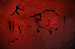 Abstract primitive art - stylized drawing of prehistoric hunters. And bull. Vector illustration Royalty Free Stock Image