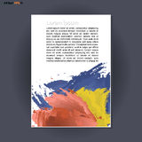 Abstract print A4 design with blue, red and yellow colored brush strokes, for flyers, banners or posters over silver background Stock Photos