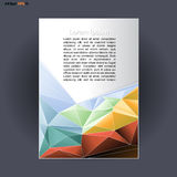 Abstract print A4 design with colored triangles, for flyers, banners or posters over silver background Royalty Free Stock Photos