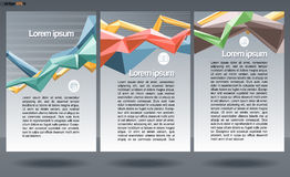 Abstract print A4 design in 3 parts, with colored lines for flyers, banners or posters, with money, map and chart icons, over silv Stock Image