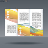 Abstract print A4 design in 3 parts, with colored lines with people, service and basket icons, for flyers, banners  Stock Images