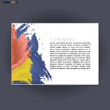 Abstract print A4 landscape design with blue, red and yellow brush strokes, for flyers, banners or posters over silver background vector illustration