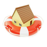 Abstract private house inside of lifebuoy concept Stock Photos