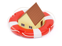 Abstract private house inside of lifebuoy concept Stock Photography
