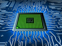 Abstract processor. Microprocessor with realistic circuit part Stock Photos