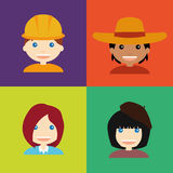 Abstract Profession Avatars. Set of people with clothes on colored backgrounds Vector Illustration