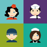 Abstract Profession Avatars. Set of people with clothes on colored backgrounds Royalty Free Illustration