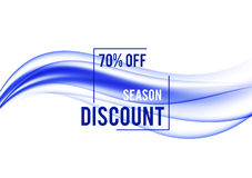 Abstract promotional sale design background. With seasonal discount frame and blue waves in smooth elegant style. Vector illustration Royalty Free Stock Images