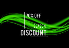 Abstract promotional sale design template. With seasonal discount rate and green wavy lines in smooth dynamic style. Vector illustration stock illustration