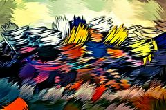 Abstract psychedelic background from color chaotic blurred stains brush strokes of different sizes.  vector illustration