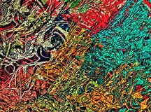 Abstract psychedelic background from color chaotic blurred stains brush strokes of different sizes.  stock illustration